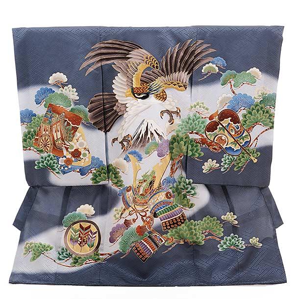 男児産着 お宮参り レンタル  正絹 1501 ブルーグレー 鷹 かぶとに松