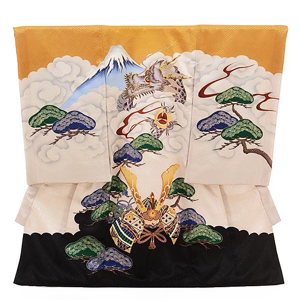 ▶男児産着(お宮参り)正絹 1505 からし地 裾黒 富士に昇り龍