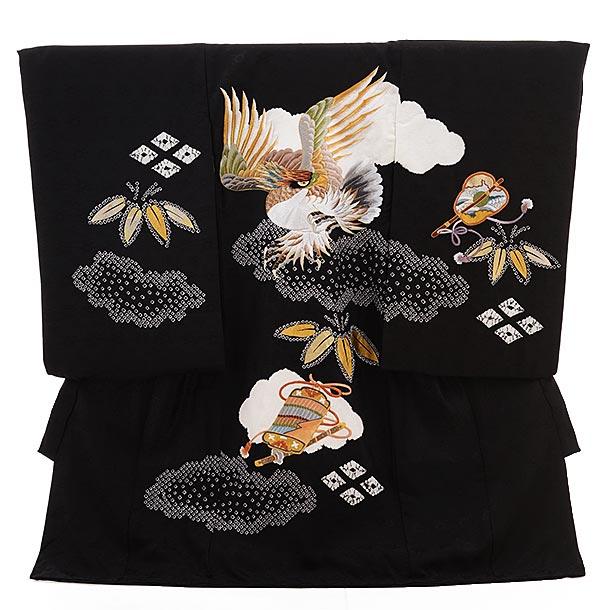 男児産着 お宮参り レンタル  正絹 1508  黒地 絞り 鷹 刺繍