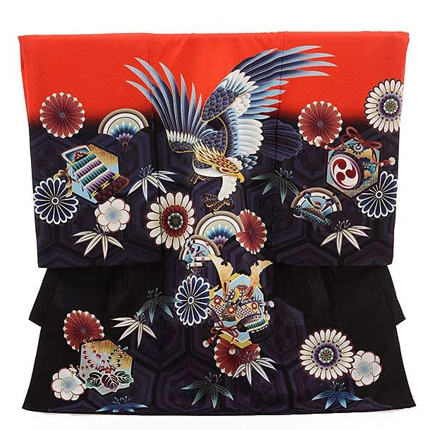 ▶男児産着(お宮参り) 正絹 1509 赤×濃紫 鷹に花とかぶと