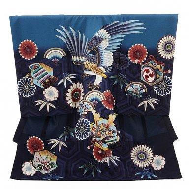 男児産着 お宮参り レンタル  正絹 1510 浅葱×紺 鷹に花とかぶと