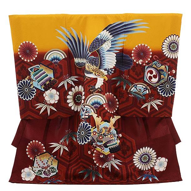 ▶男児産着(お宮参り)正絹 1511 黄土色×真紅 鷹に花とかぶと