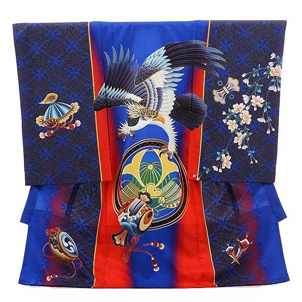 男児産着 お宮参り レンタル  正絹 1512 紺青色に赤ライン 鷹と小槌