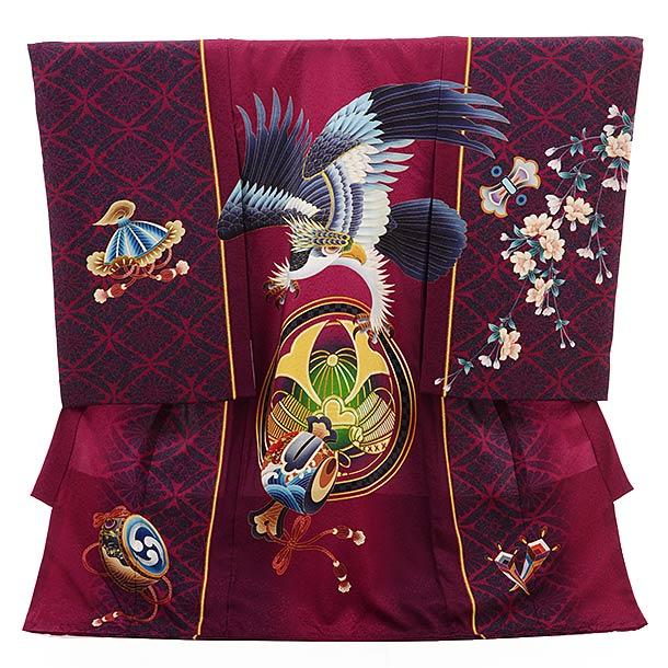 男児産着 お宮参り レンタル  正絹 1513 葡萄色 鷹と小槌