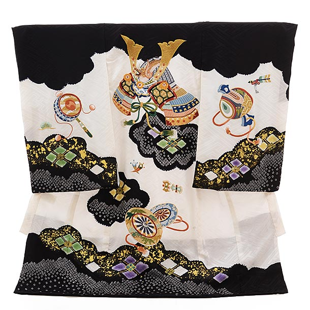 男児産着 お宮参り 高級初着正絹 1525 黒×白 鹿の子柄にかぶと 刺繍