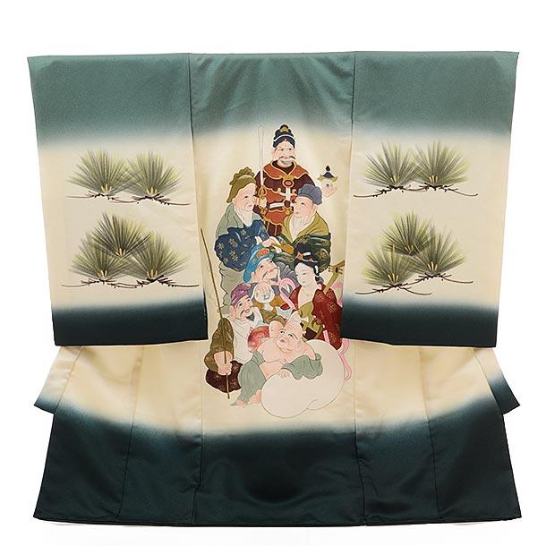 男児産着 お宮参り 高級初着正絹 1532 千歳 グリーン地 七福神