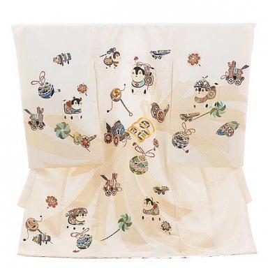男児産着 お宮参り レンタル  高級初着正絹 1535 白地 縫取り 狛犬
