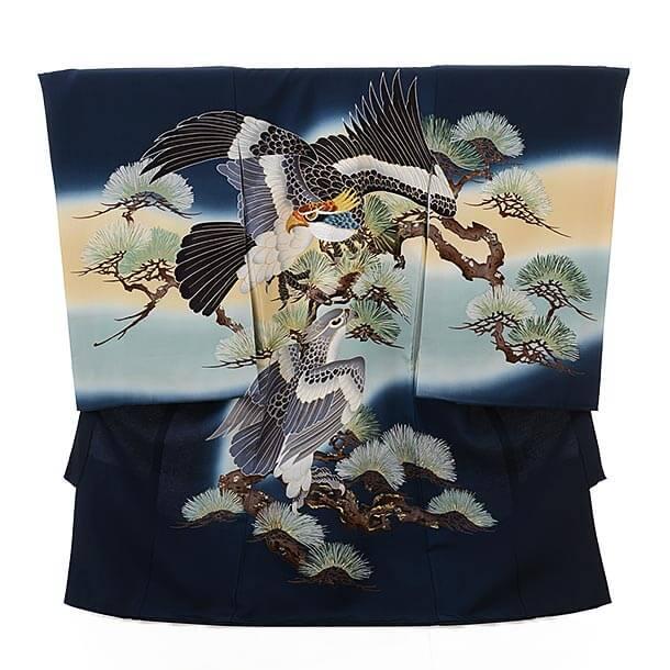 ▶男児産着(お宮参り)正絹 1537 紺地 鷹 刺繍 松