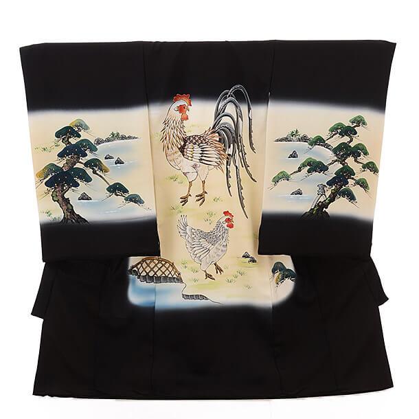 ▶男児産着(お宮参り)正絹 1542 黒地 鶏(酉)柄 と松