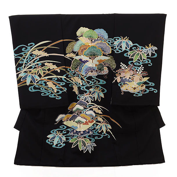 ▶男児産着(お宮参り)正絹 1543 黒地 松 古典柄