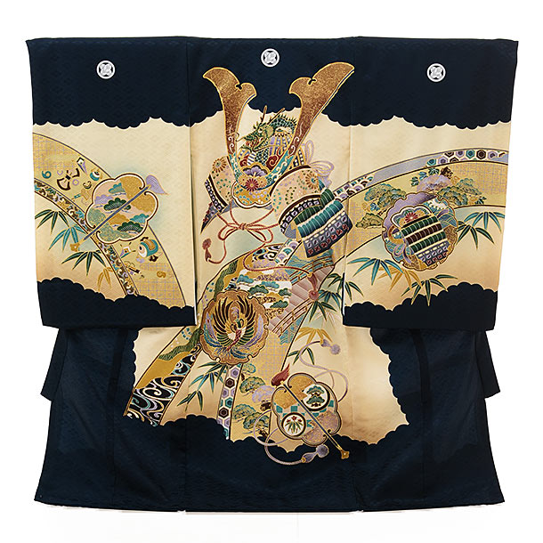 男児産着 お宮参り レンタル  正絹 1583 五つ紋 紺地熨斗兜