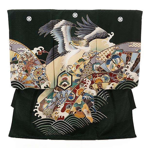 男児産着 お宮参り レンタル  正絹 1584 五つ紋 深緑地 波に鷹