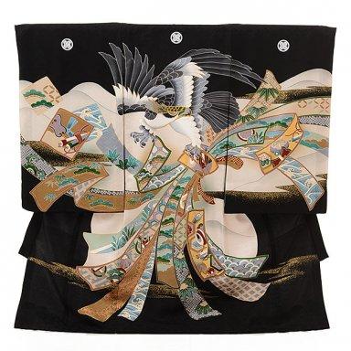 男児産着 お宮参り レンタル  正絹 1586 五つ紋 黒地千代紙束ね熨斗鷹