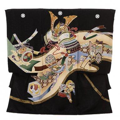 男児産着 お宮参り レンタル  正絹 1587 五つ紋 黒地御所車カブト