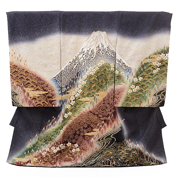 男児産着 お宮参り レンタル  高級正絹 1600 グレー地 富士