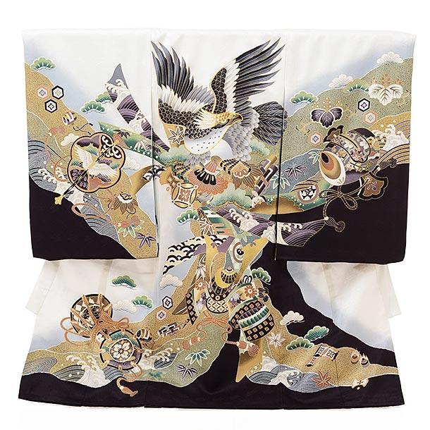 ▶男児産着(お宮参り) 正絹 1607 白地裾黒束ね熨斗に鷹
