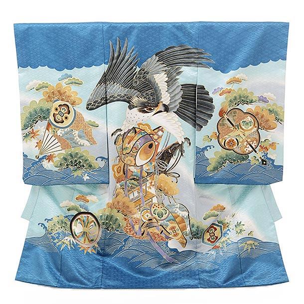 ▶男児産着(お宮参り)1626 ブルー地 波に小鎚鷹