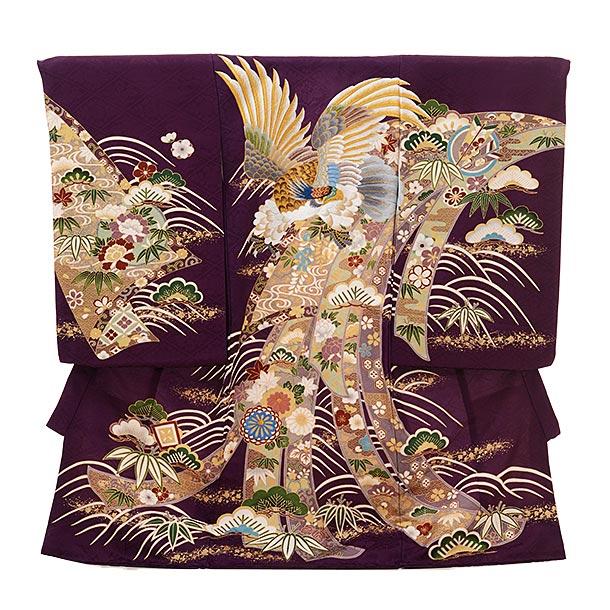男児産着 お宮参りレンタル1636 【正絹】紫地 熨斗  刺繍 鷹