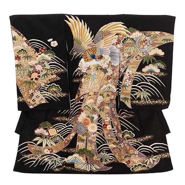 男児産着 お宮参りレンタル1637 【正絹】黒地  熨斗  刺繍 鷹