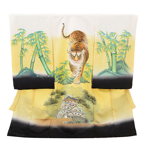 男児産着 お宮参りレンタル1647 【正絹】白ぼかし 虎と城