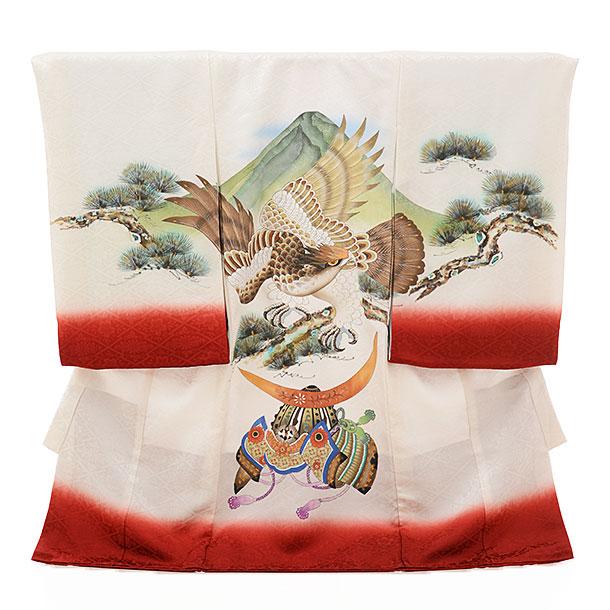 男児産着 お宮参りレンタル1650 【正絹】白地赤ぼかし 鷲と兜