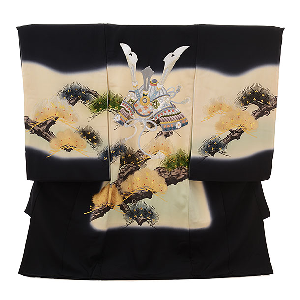 男児産着 お宮参りレンタル1653 【正絹】黒地 松に刺繍 兜