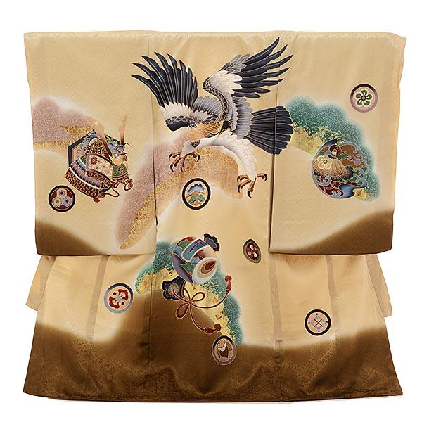 ▶男児産着(お宮参り)1663 【正絹】ベージュぼかし 鷹に小槌