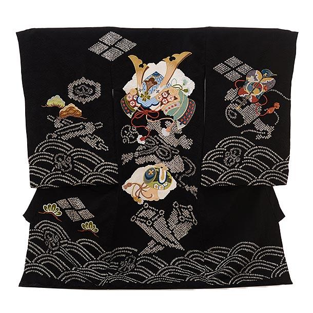 男児産着 お宮参りレンタル1668 【正絹】黒地 絞り 刺繍 兜 小槌