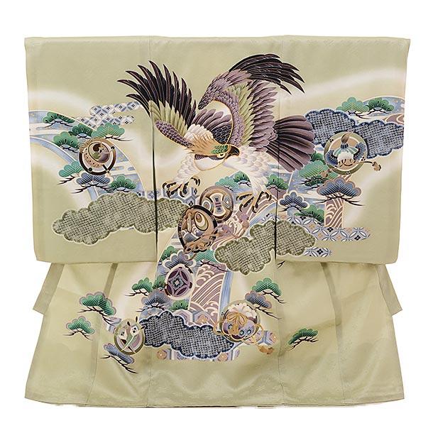 男児産着 お宮参りレンタル1670 【正絹】薄グリーン地 雲取り丸紋鷹