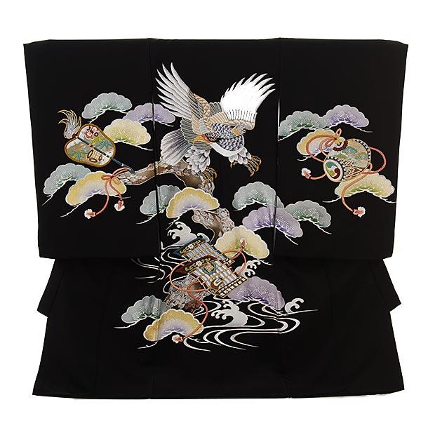 男児産着 お宮参りレンタル1675 【高級正絹】黒地 松に刺繍 鷹