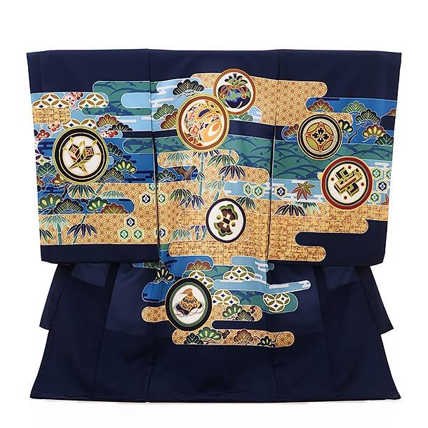 ▶男児産着(お宮参り)1839 紺地 霞に丸紋