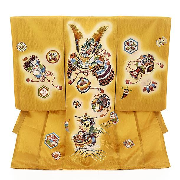 ▶男児産着(お宮参り)1844 からし色 吉祥文様 兜