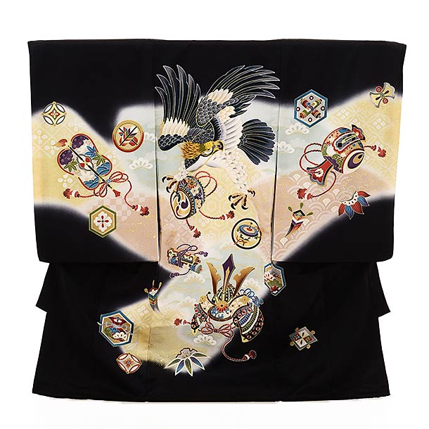 ▶男児産着(お宮参り)1845 黒地 兜 鷹