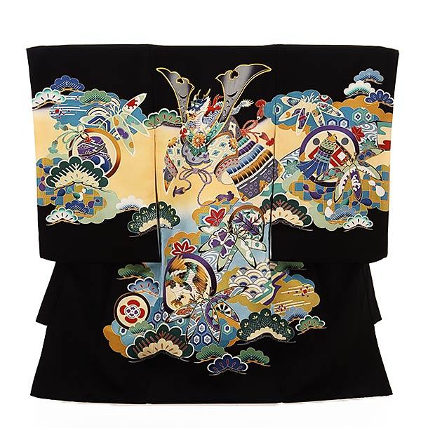 ▶男児産着(お宮参り)1847 黒地 丸紋に兜