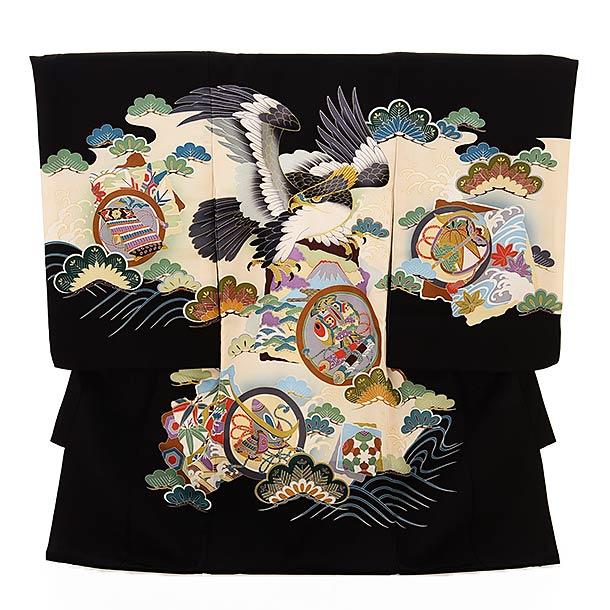 ▶男児産着(お宮参り)1848 黒地 波に丸紋鷹