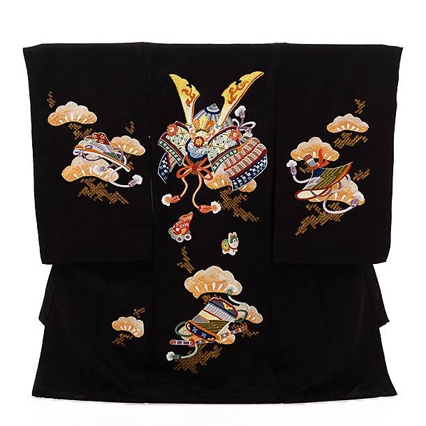 男児産着 お宮参りレンタル1856 黒地 刺繍 兜 扇