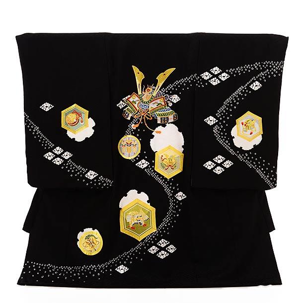 ▶男児産着(お宮参り)1858 黒地 刺繍 紋に兜