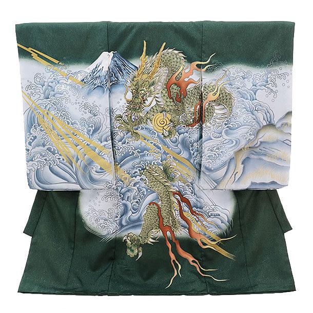 産着レンタル 男の子(お宮参り)D010 グリーン 龍と波