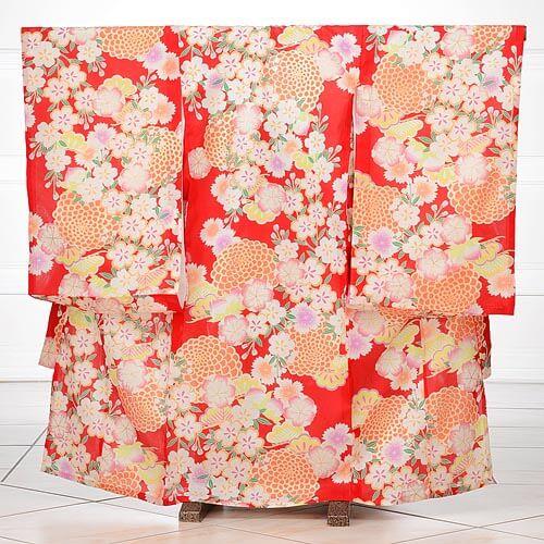 夏用 女児産着レンタル(お宮参り) 絽 1063 赤地に桜