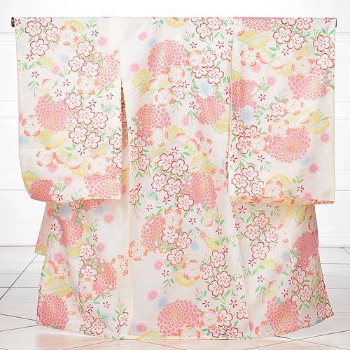 夏用 女児産着レンタル(お宮参り) 絽 1065 白地に桜(化繊)