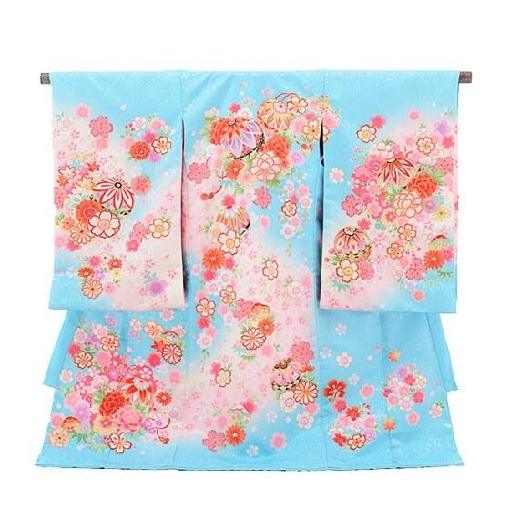 女児産着(お宮参り)1076水色 まり花