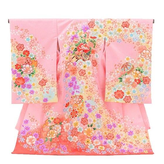 ▶女児産着(お宮参り)1080ピンク 花車