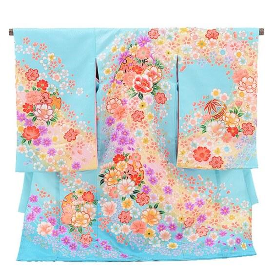 女児産着(お宮参り)1082水色 花とまり