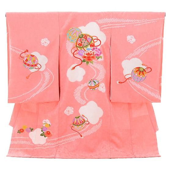 産着レンタル 女の子(お宮参り)1094ピンク まり 刺繍(正絹)