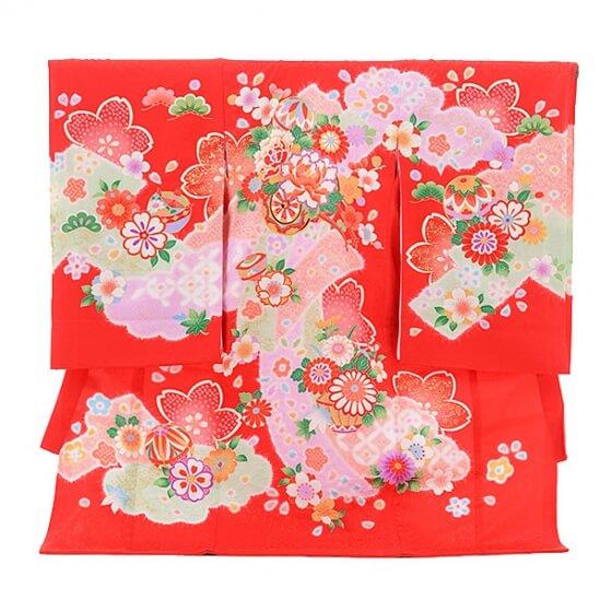 女児産着(お宮参り)1095赤 花車(正絹)