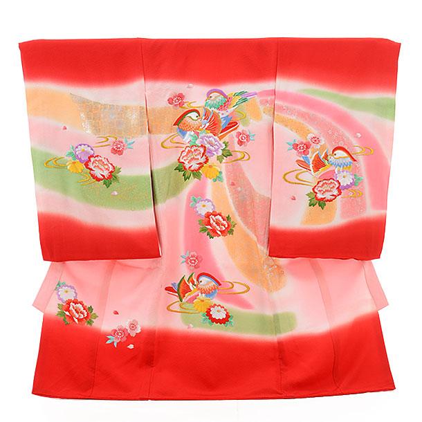 高級正絹産着レンタル 女の子(お宮参り)1140 赤おしどり(正絹)
