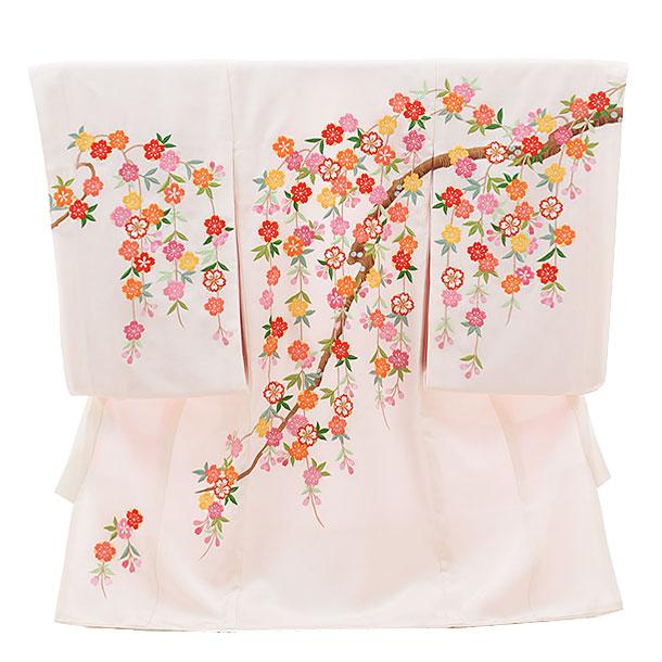 高級正絹産着レンタル 女の子(お宮参り)1141 手刺繍 枝垂れ桜(正絹)