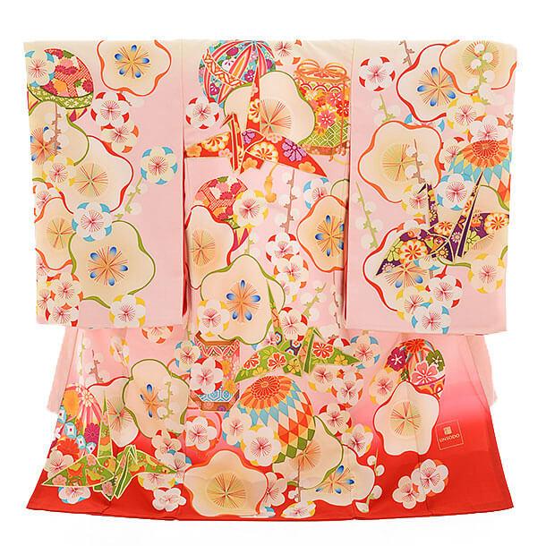 女児産着(お宮参り)1148 UNSODO 梅におりづる ピンク