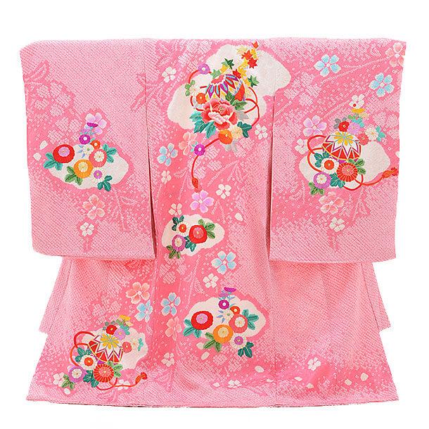 女児産着(お宮参り)1193 ピンク地 絞りぼたんまり