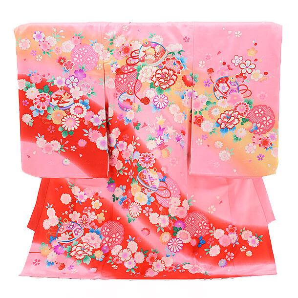 女児産着(お宮参り)1195 ピンク地 鈴ぼたん花